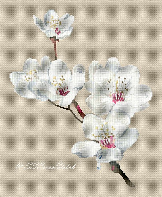 Flower Counted Cross Stitch Pattern White Prunus by SimpleSmart, $6.50
