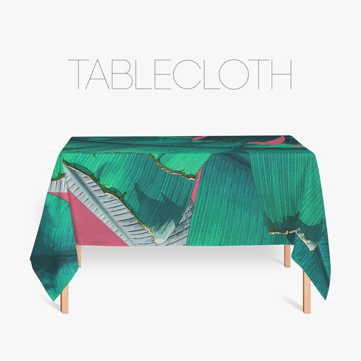 Tropical Tablecloth, Banana Leaf Art, Tropical Kitchen Decor, Home Decoration, Kitchen Linens, Green And Fucsia by Macrografiks on Etsy https://www.etsy.com/listing/516299280/tropical-tablecloth-banana-leaf-art