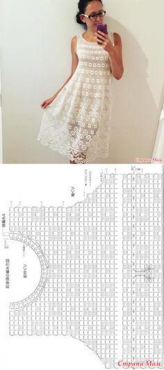 Филейное платье - Вязание - Страна Мам