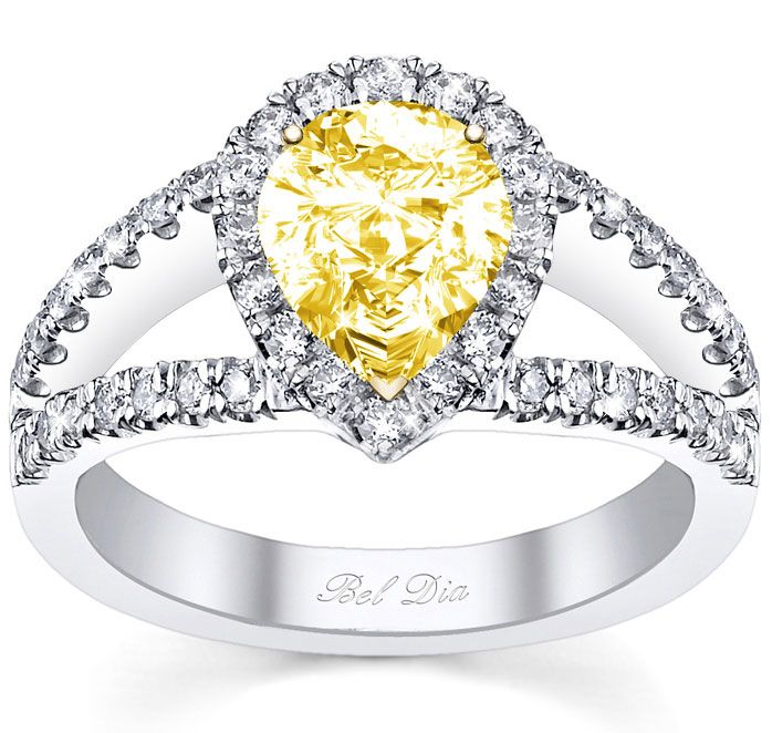 Yellow pear engagement ring with split shank from Bel Dia.