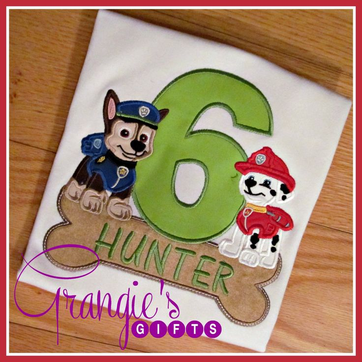 Personalized Paw Patrol Appliqued Custom Birthday T-Shirt - TWO Pups by GrangiesGifts on Etsy https://www.etsy.com/listing/251742232/personalized-paw-patrol-appliqued-custom
