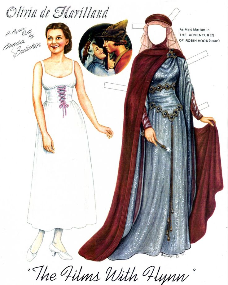 """I also sent this paper doll art of Olivia de Havilland for the artist exhibit. This is a copy as the original is too big for my scanner. I have since done a more comprehensive set of """"The Films with Flynn"""" that is available on my website."""