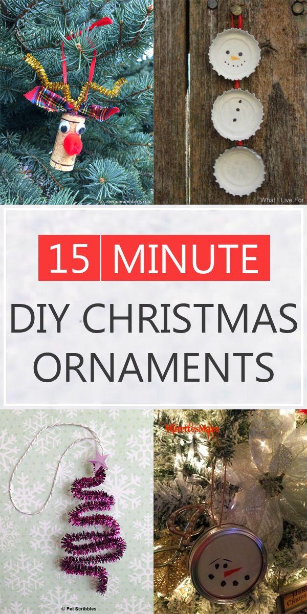 17 Easy Homemade Christmas Ornaments You Can Make In 15 Minutes Easy Christmas Ornaments Easy To Make Christmas Ornaments Diy Christmas Ornaments Easy