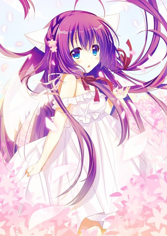 ✮ ANIME ART ✮ anime. . .neko. . .cat girl. . .cat ears. . .flowers. . .sakura. . .flower petals. . .long hair. . .ribbons. . .cute. . .kawaii