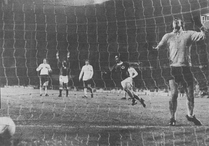 29th April 1972. England's collapse against West Germany was complete when Gerd Muller scored a third goal, and the second in three minutes, in the Nations Cup Quarter Final 1st Leg, at Wembley.