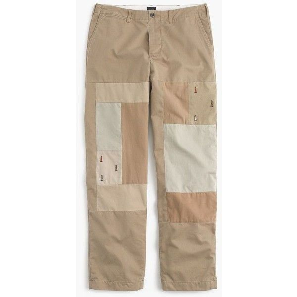 J.Crew Wide-leg patchwork chino pant in embroidered lighthouses ($98) ❤ liked on Polyvore featuring men's fashion, men's clothing, men's pants, men's casual pants, mens embroidered pants, mens slim pants, mens zip off pants, mens wide leg pants and mens slim fit pants