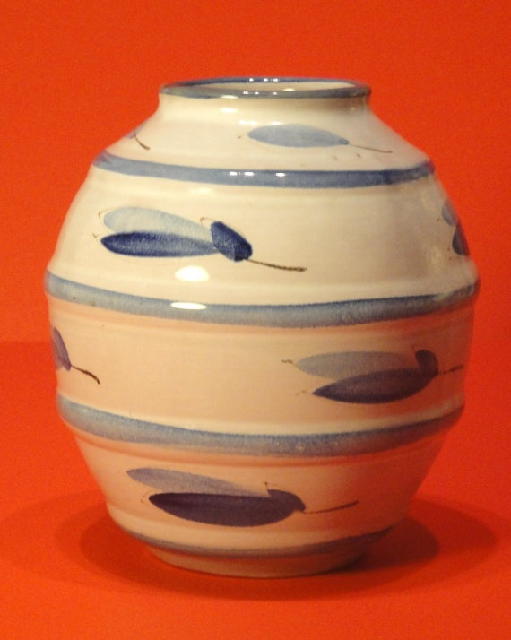 Arabia of Finland - Mid century modern iconic terra cotta ceramic pottery vase in blue and egg shell by Erik Ekholm for Arabia of Finland