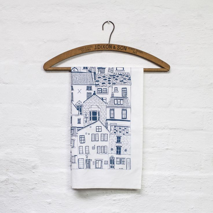 Coastal Cottages tea towel - kitchen textiles designed by Jessica Hogarth and printed in the UK - cotton design led tea towel by jessicahogarth on Etsy https://www.etsy.com/listing/96542838/coastal-cottages-tea-towel-kitchen