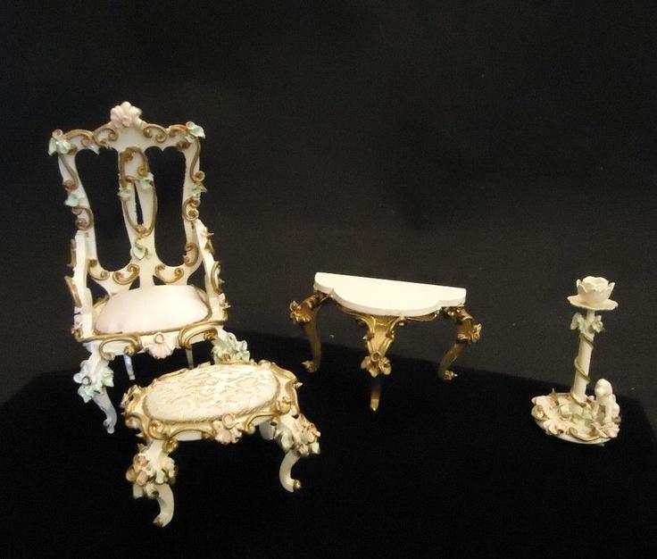 Vintage Spielwaren German Miniature Ornate Doll House Furniture