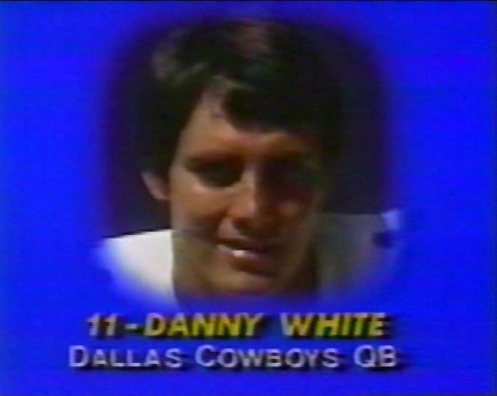 "Head shot of DANNY WHITE (11) on ""Monday Night Football""--November 9, 1981"