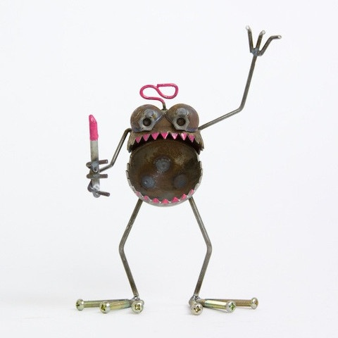 Haha! Critter crafted from recycled steel and salvaged hardware from Nube Green