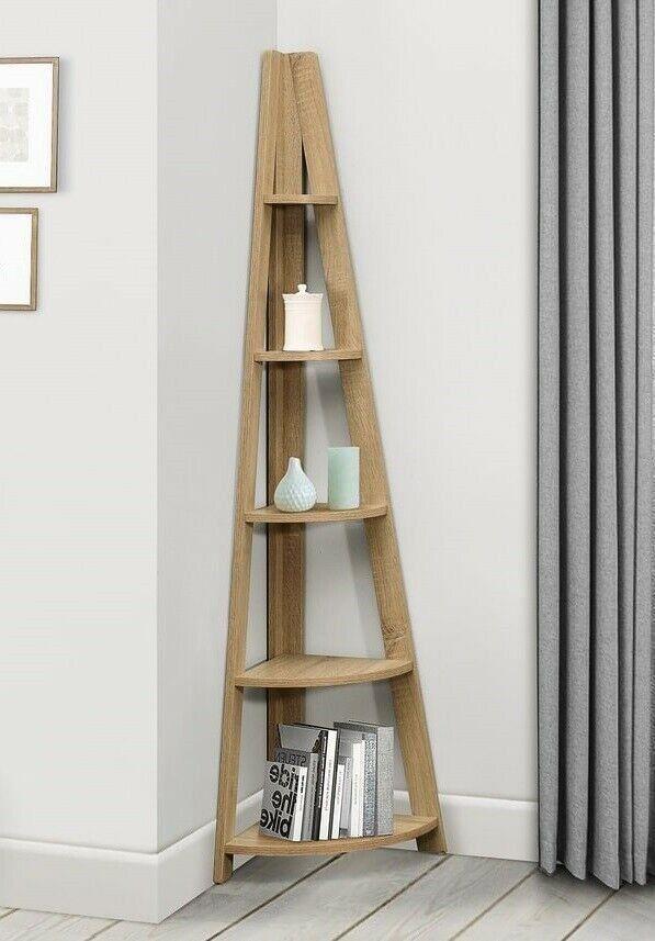 Corner Ladder Shelving Unit Leaning 5 Tier Bookcase Display Shelf Rack Oak New In 2020 Wooden Corner Shelf Corner Shelving Unit Wooden Shelving Units