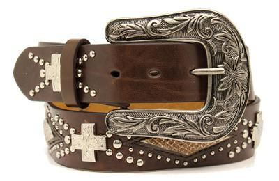 Nocona Leather Belt with Crystal Crosses and Snake Inlays