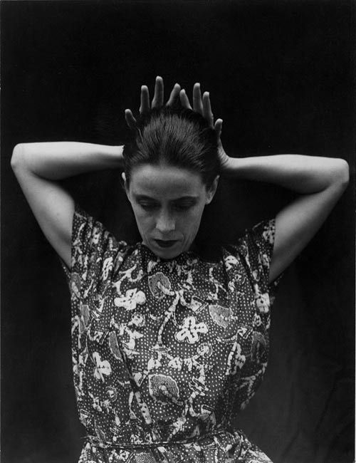 Martha Graham (May 11, 1894 – April 1, 1991) was an American modern dancer and choreographer whose influence on dance has been compared with the influence Picasso had on modern visual arts, Stravinsky had on music, or Frank Lloyd Wright had on architecture. She danced and choreographed for over seventy years. Photo was taken by Imogen Cunningham in 1931.