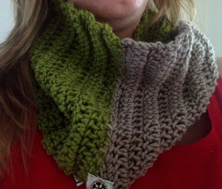 Warm Winter Cowl Scarf. Green and Grey handmade, just slip it on and off you go...