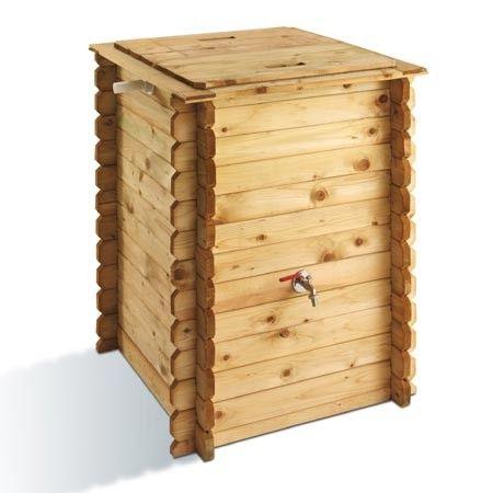 Récupérateur d'eau pluviale en pin pin sylvestre FSC, traité autoclave. 320 litres (L 78 cm x l 78 cm x H 97 cm)-  récupérateur est livré avec une bâche, un couvercle, un robinet et  un trop plein.  http://www.plantes-et-jardins.com/p/14997-recuperateur-deau-pluviale-en-pin-fsc-320-litres#ref=1360-2_3342-2_3592-3