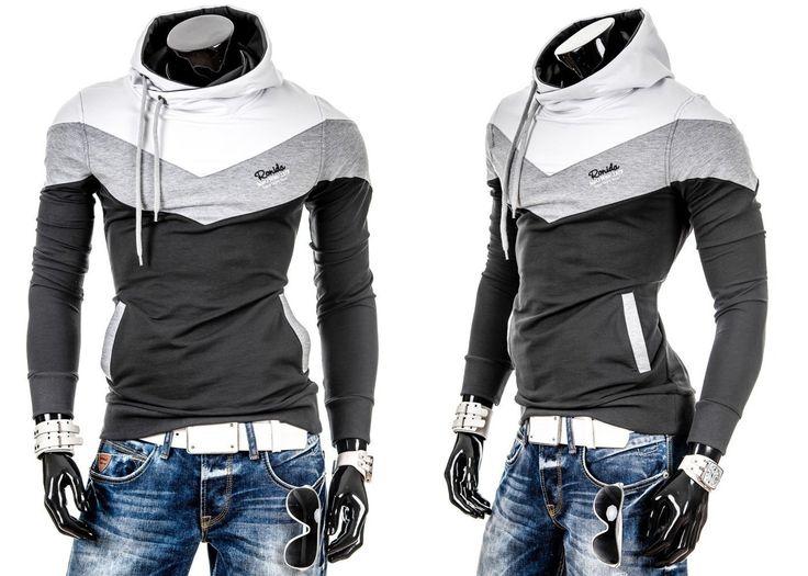 RONI 4555 - GRAFITOWY GRAFITOWY | On \ Bluzy męskie \ Bluzy z kapturem | Denley - Odzieżowy Sklep internetowy | Odzież | Ubrania | Płaszcze | Kurtki