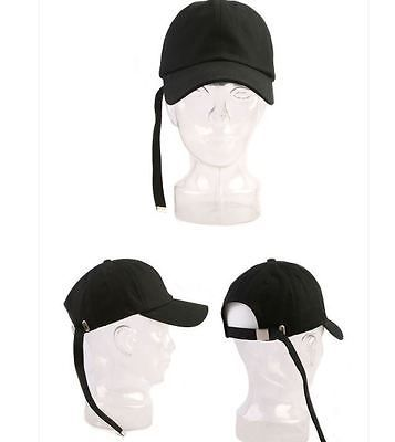 Unisex Extra Long Strap Ball Cap Black G-Dragon Street Fashion