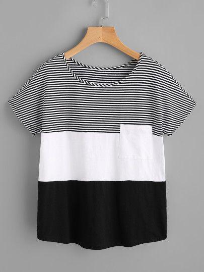 Camiseta con costuras y bolsillo