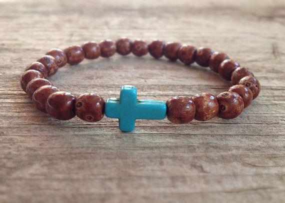 Men S Brown Wood Bead Bracelet Turquoise Stone Sideways Cross Stretch Bohemian Jewelry Bedazzle Me Man Pinterest Bracelets