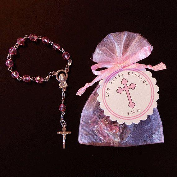 20 Mini Rosary Favors - Baby Girl Baptism Favor - Christening Favor - Communion Favor - First Communion Favor - Rosary Favors - Pink - Cross