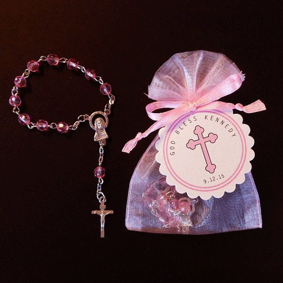30 Mini Rosary Favors Baby Girl Baptism Favor by susiedees