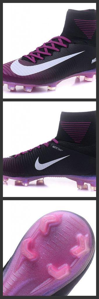 Nuove Scarpa da calcio Nike Mercurial Superfly V FG Nero Viola Bianco - I tacchetti sono espressamente progettati per una trazione superiore sui campi in erba corta.