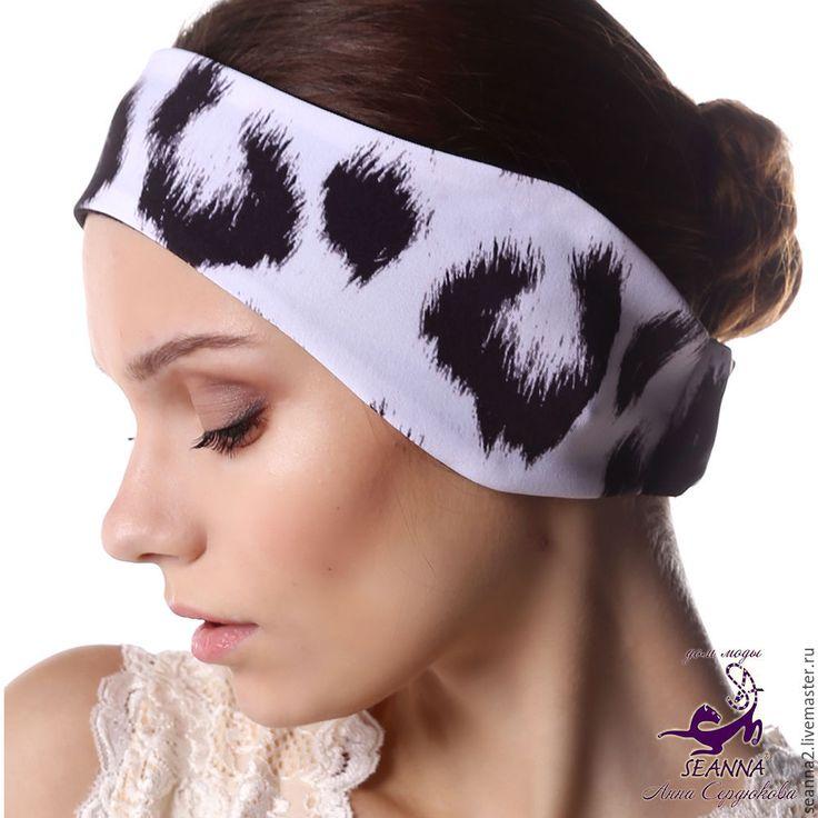"""Купить Полоска, повязка на голову двусторонняя на флисе """"Снежный Барс"""" - повязка, полоска, полоска на голову"""