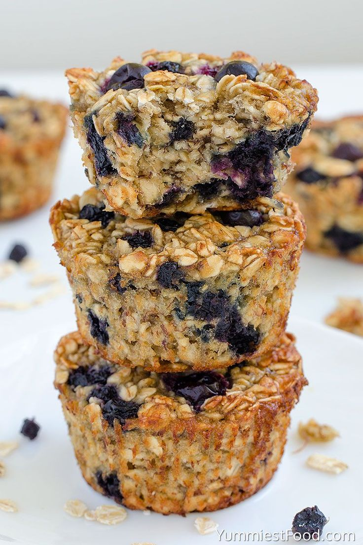 Baked Blueberry Banana Oatmeal Cups - on the Plate