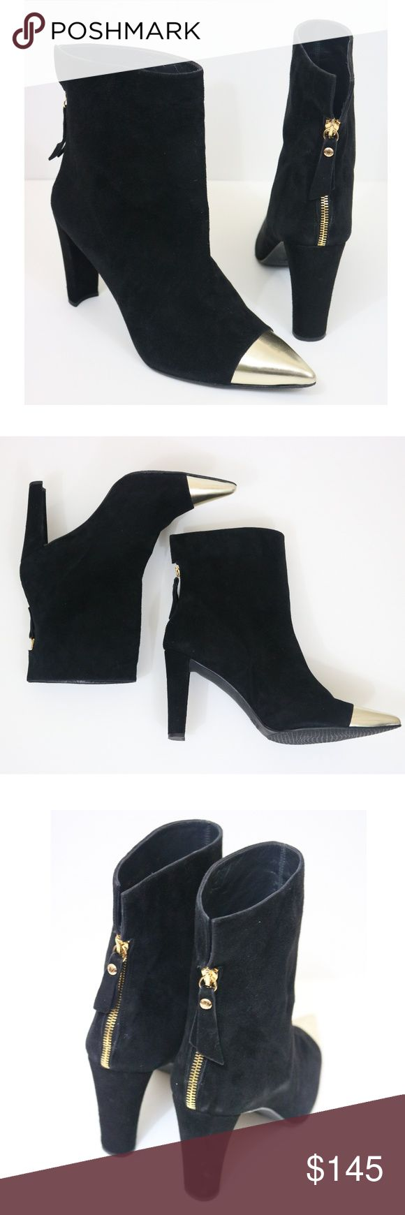 Stuart Weitzman Suede Gold Toe Chunky Heel Boots Stuart Weitzman brand. Never Worn. Zip back boots. Suede with gold closed pointed toe detail. Size 11. Thicker chunky heel. Stuart Weitzman Shoes Heeled Boots