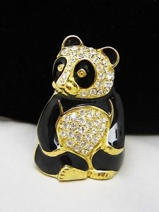 Limited Edition TRIFARI TM Black Enamel & Rhinestone Panda Bear Brooch