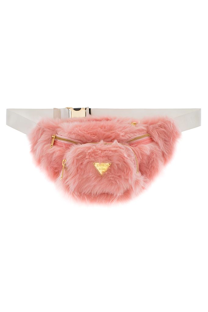 JOYRICH CANDY FUR WAIST PACK Pink faux fur waist pack with ...