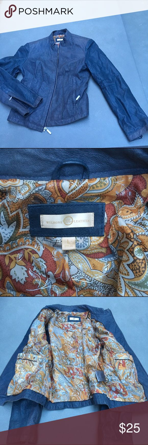 """Blue leather jacket Pre-loved but excellent shape. Came in a pre-worn look. Love the lining!! Says """"large"""" but fits like an 8. Wilsons Leather Jackets & Coats"""