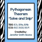 Pythagorean Theorem Interactive Word Problems- Solve and Snip- Aligned to 8th Grade TEKS and Common Core $