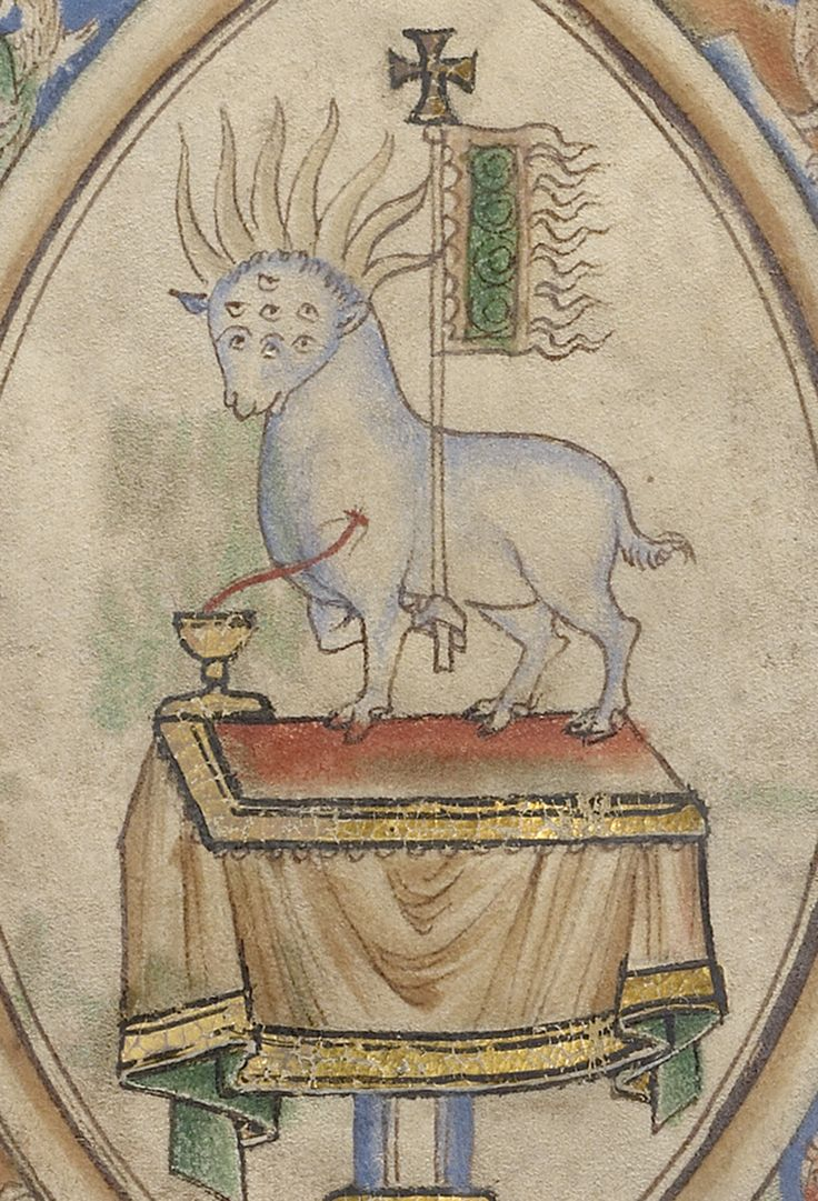 The Vision of a Lamb (detail), ca. 1255-1260, English, probably London. J. Paul Getty Museum.