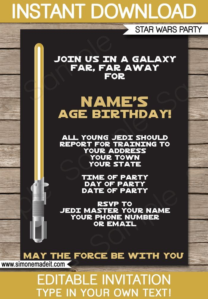 Star Wars Party Invitations Template Gold