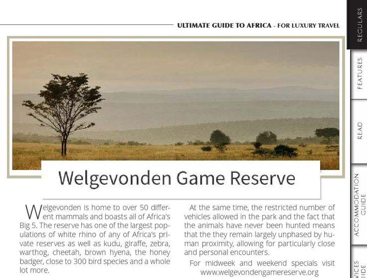 Welgevonden Game Reserve in  Issue 40