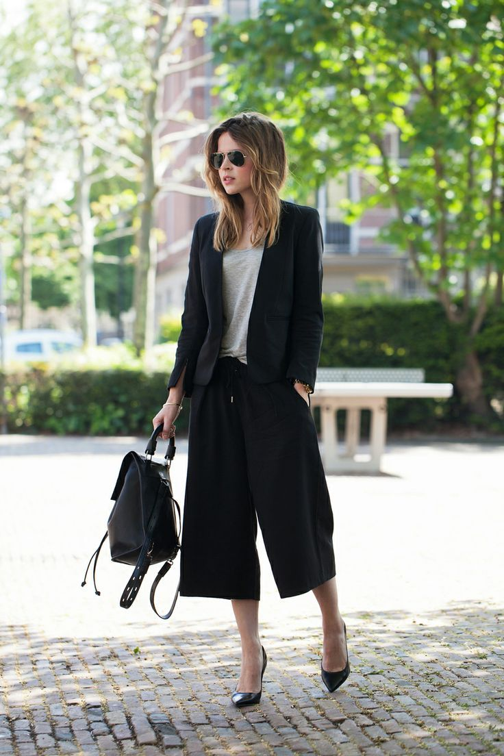 A little black backpack can be a fun and classy addition to  a smart outfit.