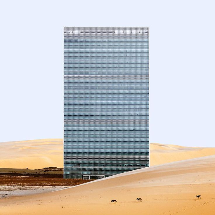 """Headquarters of the United Nations of Oscar Niemeyer and Le Corbusier.  """"Misplaced"""" - Antone Repponen"""