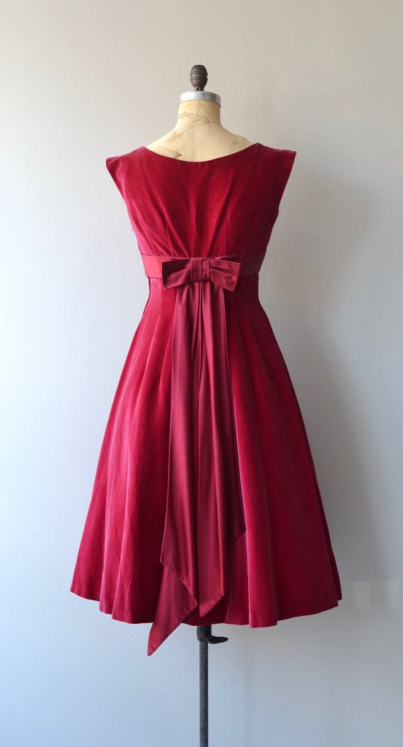 Vintage 1950s cranberry velvet party dress with wide neckline, cap sleeves, satin empire waist with back bow, wallpaper waist with princess seaming,