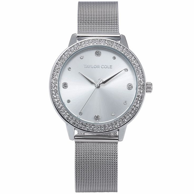 Taylor Cole Echo Round Silver Crystal Slim Case Relogio Feminino Quartz Steel Band Bracelet Clock Women Ladies Watch Gift /TC070