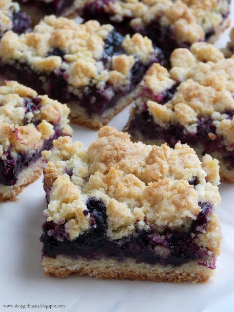 Blueberry Crumble Bars from Shopgirl. I freeze most of my blueberries right off the vine but this looks so fabulous that it will come first!
