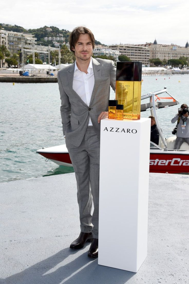 Ian Somerhalder Suits Up in Gray for Azzaro Pour Homme Photocall