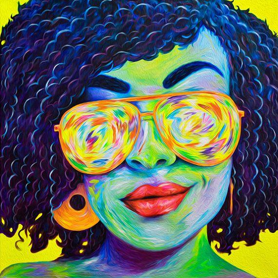 Pop-Art-Psychedelic-Schwester Kunstdruck. Ethnische Frau Kunst