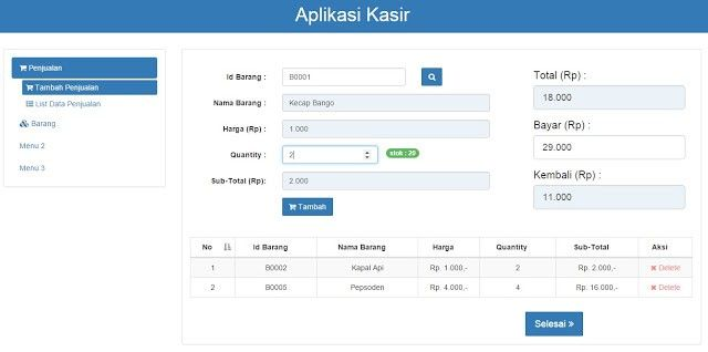 Download Source Code Aplikasi Kasir Menggunakan Codeigniter Barcode Aplikasi