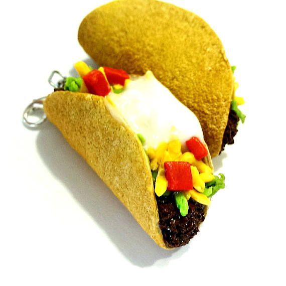Taco Charm / Necklace Miniature Food Jewelry Food Keychain