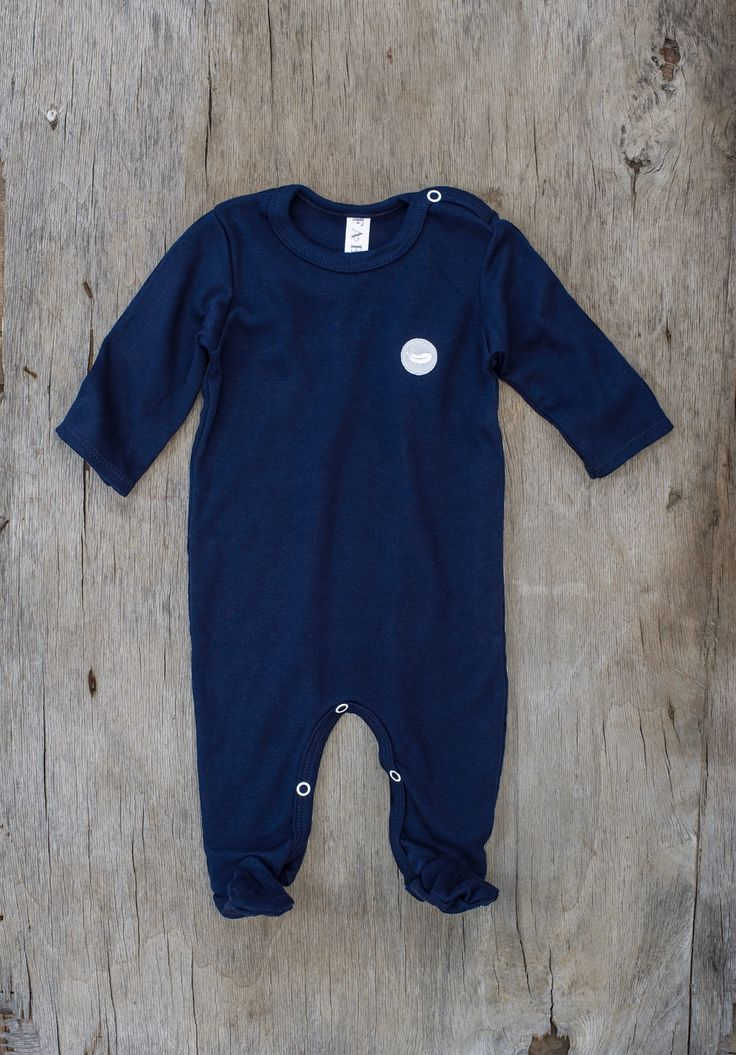 Fable Babywear Warmer Collection - Navy Warmer with grey feather embroidery. Made with 100% cotton. Browse our collections at fablebabywear.com/