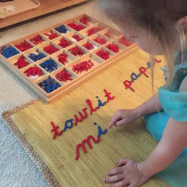 """Montessori preschool activity at home: """"We used the Moveable Alphabet to make our grocery list. Then I modeled writing it on paper for actual use."""""""