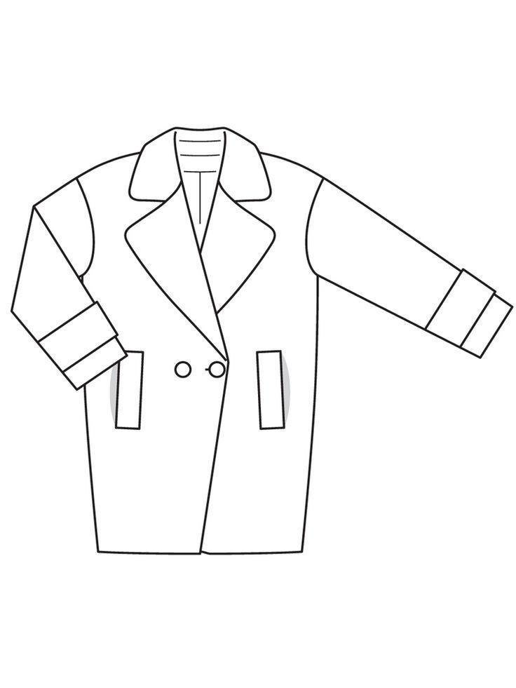 Пальто о-силуэта - выкройка № 121 из журнала 11/2016 Burda – выкройки пальто на Burdastyle.ru