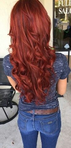 Red hair with gold highlights blended in for dimension.